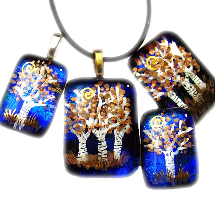 tree of life, pendant, jewelry, fused glass, tree, trees, holly sokol, hsokol.etsy.com, aspen trees, tree pendant,