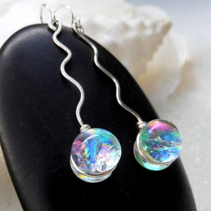 earrings, dichroic fused glass, dichroic, dichro, Holly Sokol, HSokol.etsy.com, silver, jewelry, dichroic earrings, sterling, platinum