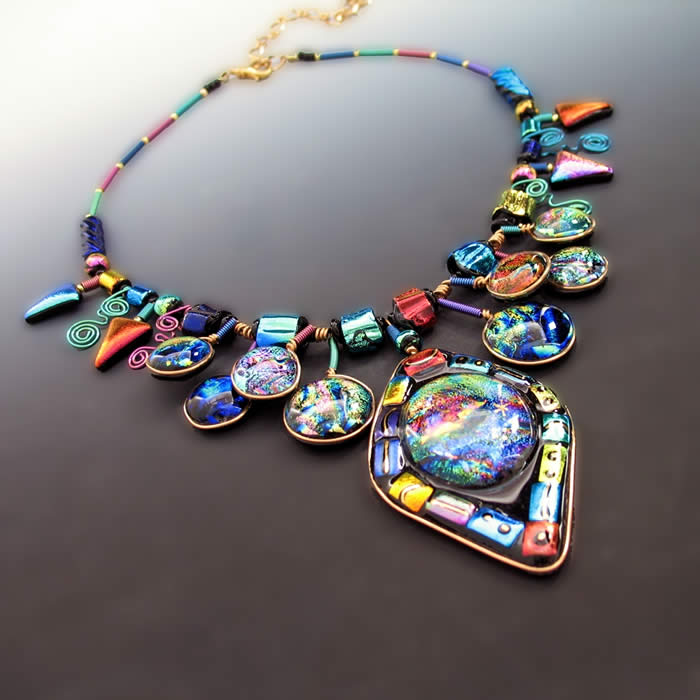 Holly Sokol, Dichroic Glass, Necklace, fused glass jewelry, kiln-fired glass by Holly, HSokol.etsy.com